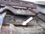 キイロスズメバチの女王蜂が屋根瓦の中に作った巣.jpg