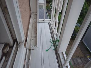 アシナガバチの巣が窓枠の裏側にあって見えない(須賀川市).jpg