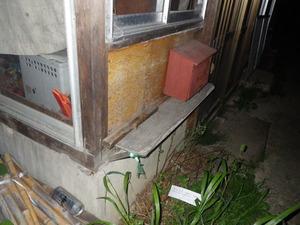 キイロスズメバチが中に巣を作った板壁(白河市、2013年8月10日).jpg