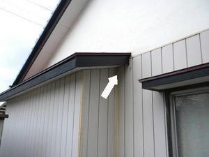 キイロスズメバチが壁の小さな隙間穴から出入り(郡山市、2010年10月上旬).jpg