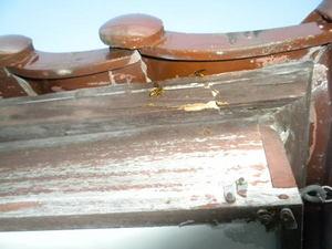 キイロスズメバチが瓦屋根の小さなすき間から出入り(福島県田村市、2010年9月下旬).jpg