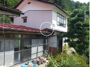 キイロスズメバチが飛び回る玄関の屋根付近の様子(田村市、2013年8月13日).jpg