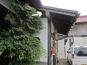 スズメバチが出入りしていた玄関の壁 会津、7月下旬