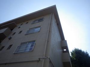 スズメバチの巣が軒下にある4階建ての三春町営アパート(福島県三春町).jpg