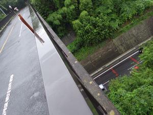 遊歩道の橋の上からスズメバチの出入りは見えても巣は見えない(二本松市).jpg
