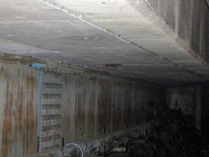 郡山市で橋の下のスズメバチの巣を撤去した巣跡.jpg