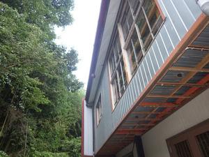 郡山市にある中学校体育館の軒下にスズメバチの巣(郡山市).jpg
