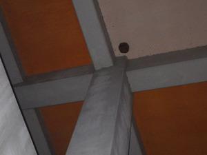 高さ10mほどの体育館の軒下にあるキイロスズメバチの引っ越し巣(郡山市).jpg