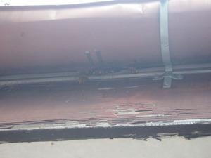 キイロスズメバチの巣への入り口は屋根の一部にあいた穴(石川町、2013年8月21日).jpg