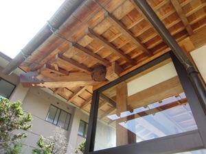 コガタスズメバチの巣が玄関真上に 会津、9月11日.jpg