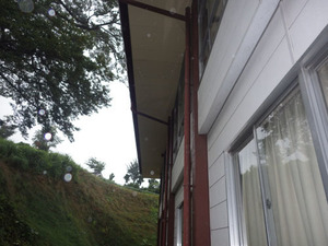 スズメバチの巣が作られた本宮市の地域体育館の軒下(本宮市).jpg