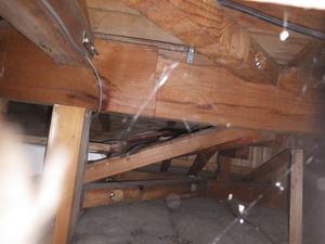 スズメバチの巣を探索した瓦屋根の玄関の屋根裏(白河市).jpg