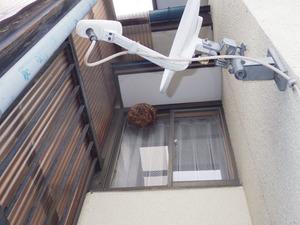 空き家の2階の窓枠に作られたコガタスズメバチの巣(会津若松市).jpg